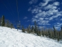blue skies and fresh snow