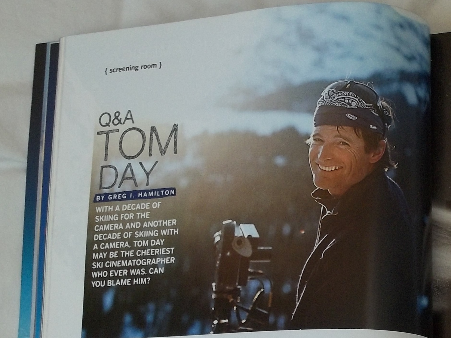 Greg interviewed Tom day for the 62nd annual Warren Miller film tour