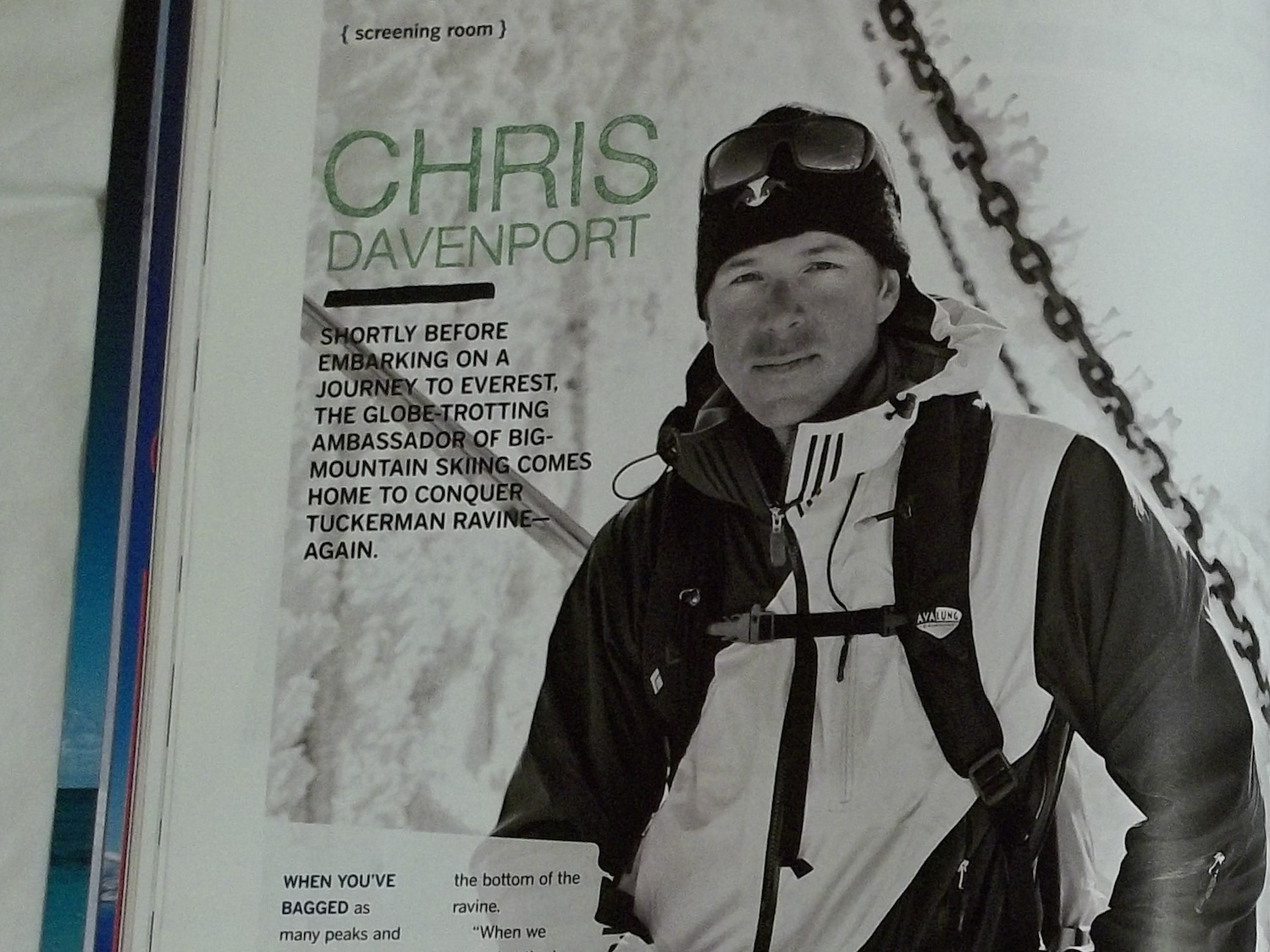 Profile of big mountain skier Chris Davenport for the Warren Miller magazine