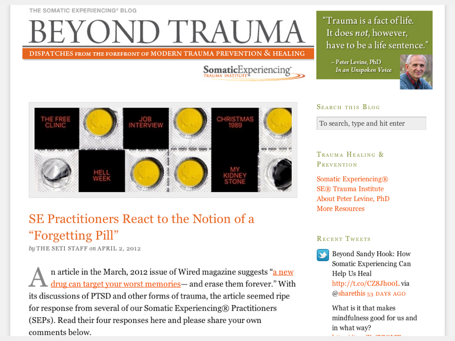 Greg co-edits the official blog of the Somatic Experiencing Trauma Institute